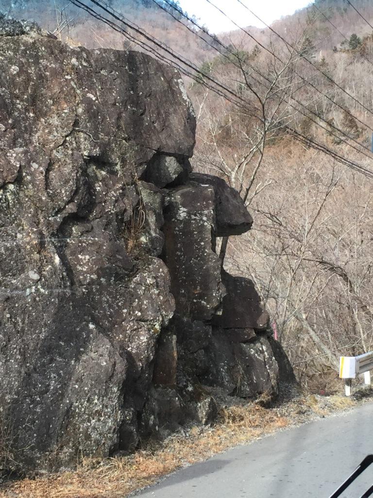 女夫渕へのバス車内から見る面白い岩のアップ