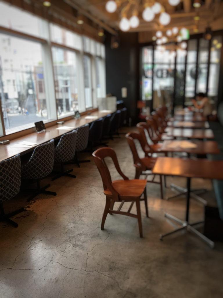 五反田WIRED CAFEの店内奥禁煙席