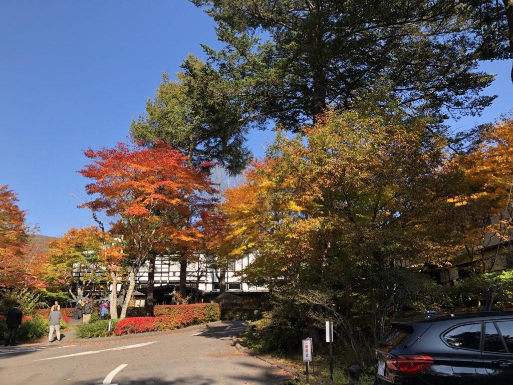 万平ホテル入口の紅葉