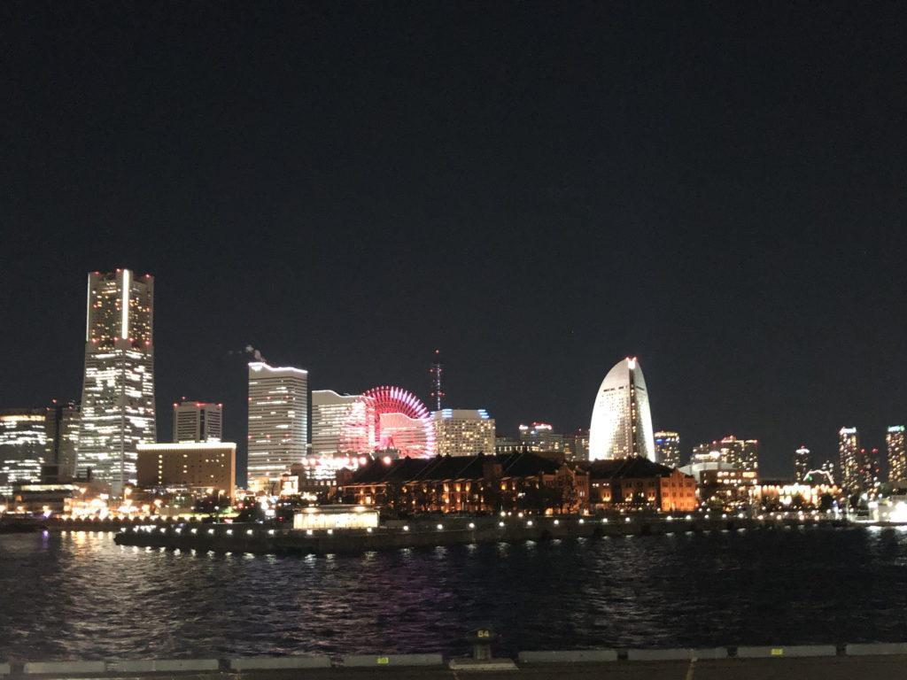 大桟橋から見えるみなとみらいの夜景