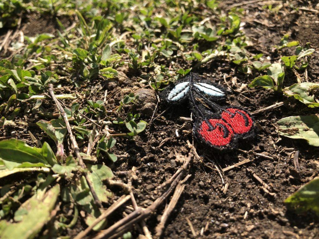芝生とさくらんぼのアップリケ